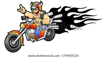 Cool biker rides on a motorcycle.