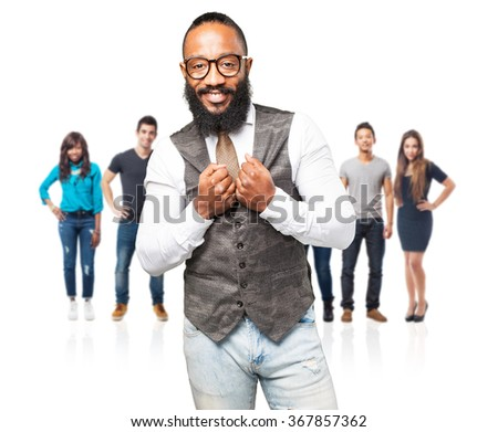 cool black man smiling - stock photo