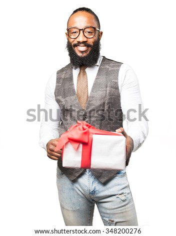 cool black man with a gift - stock photo