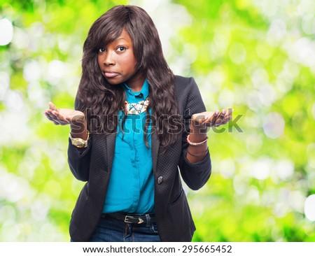 cool black-woman doubting - stock photo