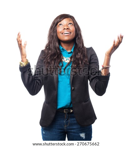 cool black-woman praying - stock photo