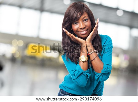cool black woman smiling - stock photo