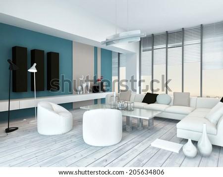 Cool blue and white modern living room inyerior with white painted wooden floorboards, a modern white lounge suite, blue accent walls and large floor-to ceiling panoramic glass windows - stock photo
