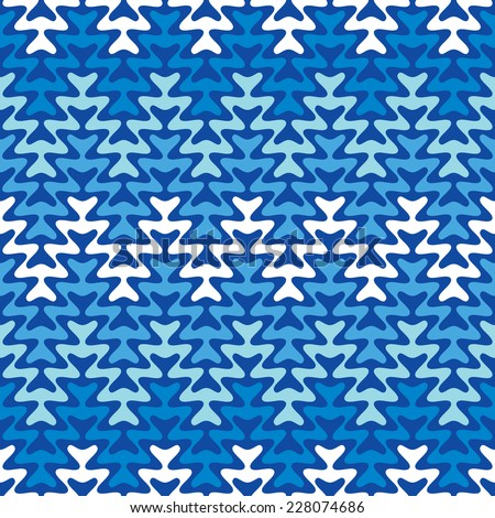 Cool blue zigzag pattern repeats seamlessly. - stock photo