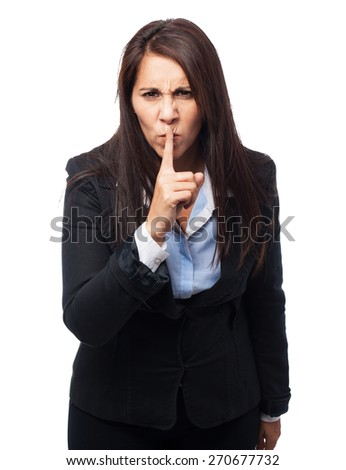 cool business-woman doing silence sign