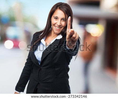 cool business woman one gesture - stock photo