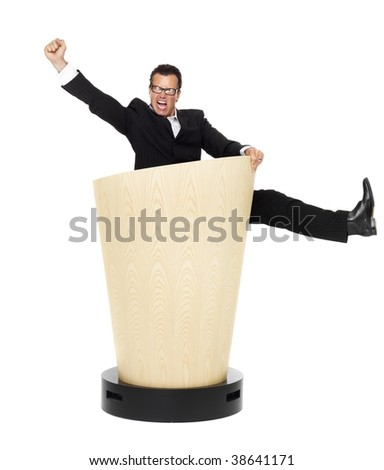 Cool businessman on lectern on isolated white - stock photo