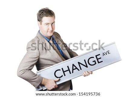 Cool businessman rocking out on change avenue in a business improvement and evolution concept - stock photo