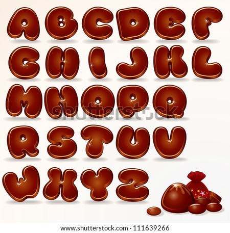 Cool Chocolate Alphabet. Cartoon Font for your Design and Text. - stock photo