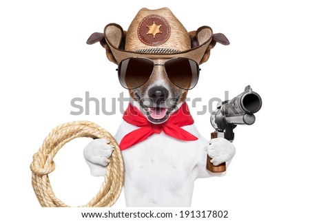 cool cowboy dog with a pistol , hat and a  rope - stock photo