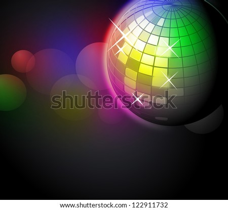 Cool disco ball illustration - stock photo