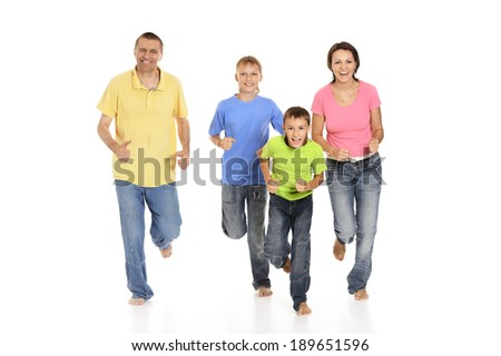Cool family in bright T-shirts on a white background - stock photo