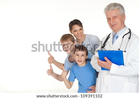 Cool family with children go to the doctor