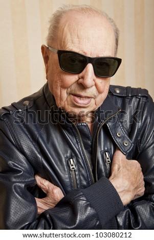 cool fashion elder man with sunglasses - stock photo