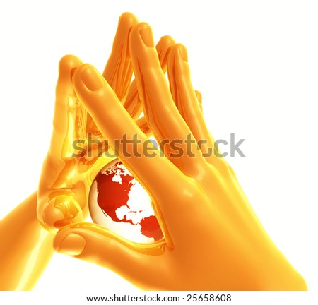 Cool futuristic gold yellow hand on protecting position - stock photo