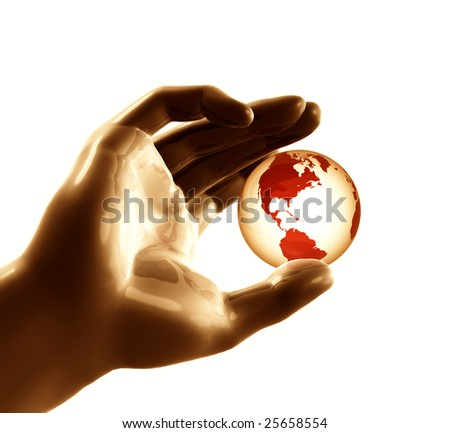Cool futuristic metal silver hand playing with the globe world - stock photo