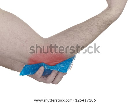 Cool gel pack on a swollen hurting elbow. Medical concept photo. Isolation on a white background. Color Enhanced skin with read spot indicating location of the pain.