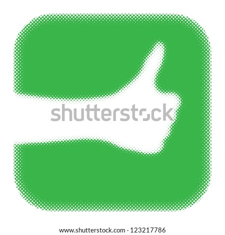 "cool. gesture ""thumb up"". (raster version of vector) - stock photo"
