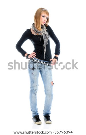 Cool girl wearing torn jeans, full length portrait, isolated on white - stock photo