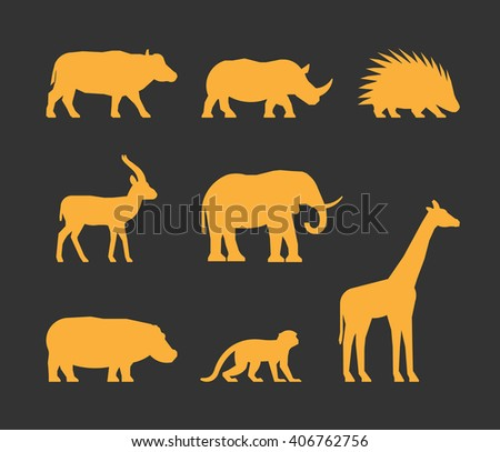 Cool gold set of silhouettes african animals. Icon buffalo, rhino, gazelle and porcupine. Silhouette elephant, hippopotamus, monkey and giraffe. Silhouette african animals isolated.  - stock photo