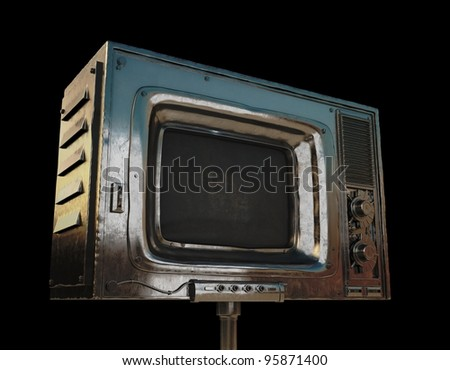 Cool grunge tv/ Metal old rusty television on black background