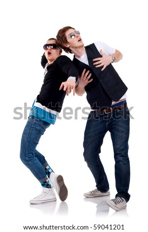 cool guys making funny faces and having fun over white - stock photo