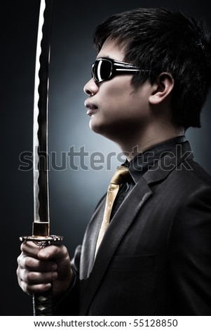 Cool japanese with samurai sword fashion.