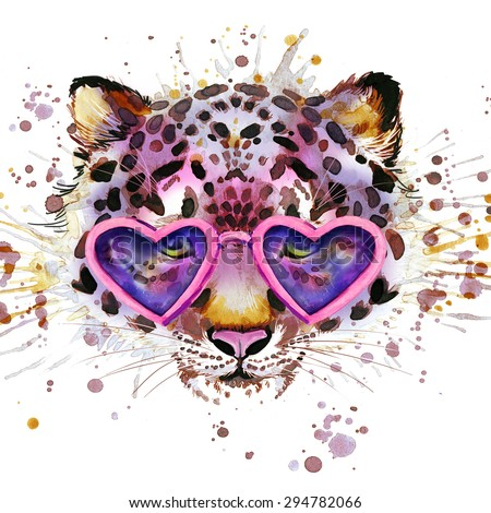 Cool leopard T-shirt graphics. leopard illustration with splash watercolor textured  background. unusual illustration watercolor leopard for fashion print, poster, textiles, fashion design - stock photo