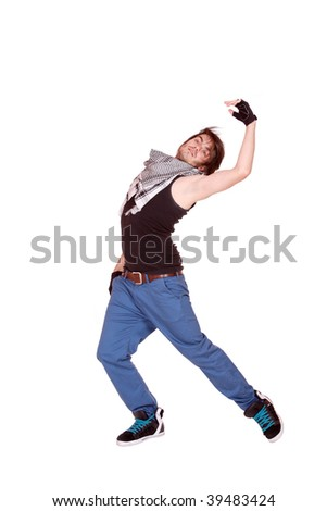 cool looking dancer isolated on a white background