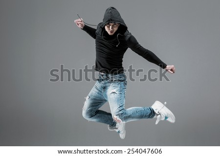 cool looking  dancer jump - stock photo