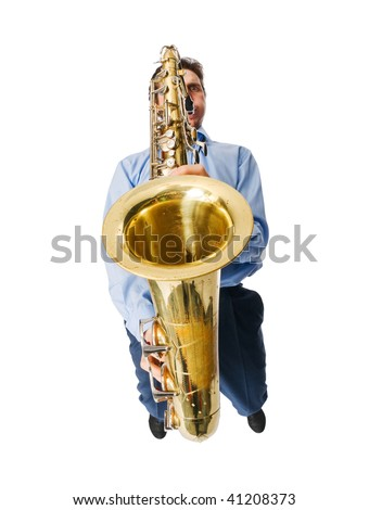 Cool looking musician with sax isolated on white - stock photo