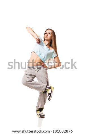 cool looking two dancing woman isolated on white background