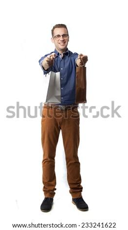 cool man carrying shopping bags - stock photo