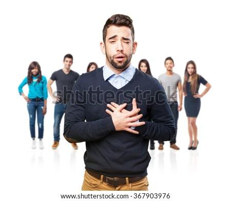cool man having a heart ache - stock photo