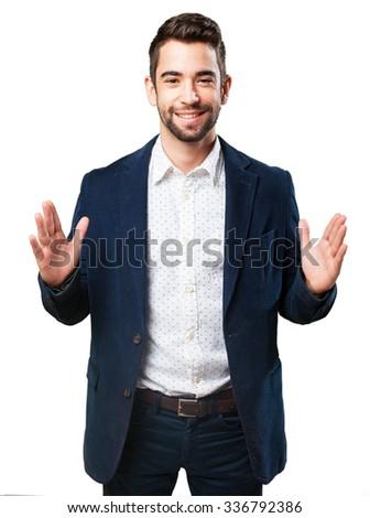 cool man presenting something - stock photo