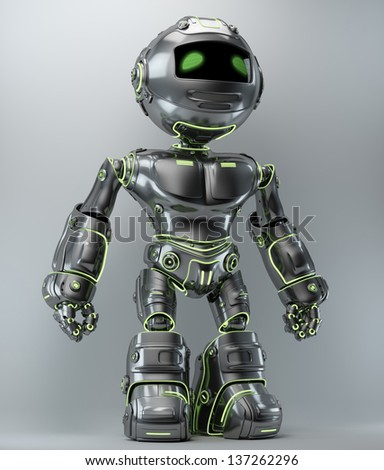 Cool metal robot with green illuminated lines / Steel robot