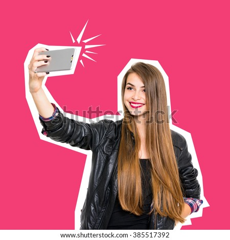 Cool millennial beautiful teenage girl in black leather jacket, with long blonde hair, smiling, posing, taking a selfie on smartphone. Conceptual minimalist design photo, square format, retouched.
