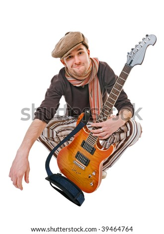 Cool musician with guitar isolated on white background
