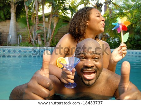Cool party in the summer pool - stock photo