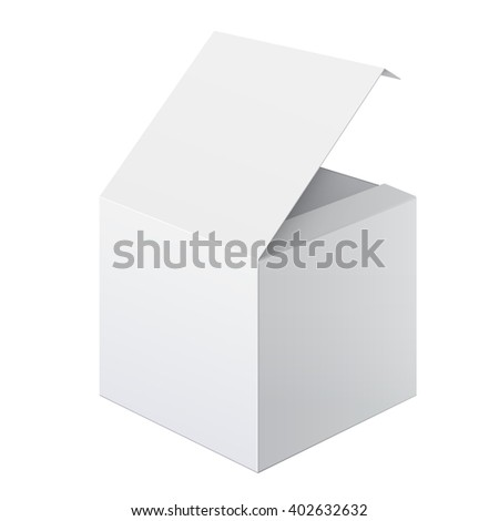 Cool Realistic White Package Cardboard Box Opened. Square shape. For Software, electronic device and other products.  - stock photo