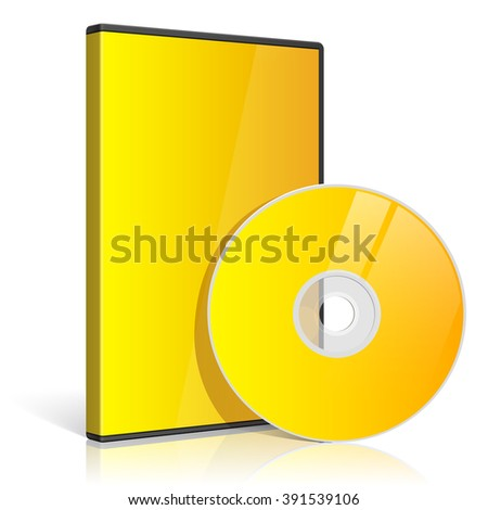 Cool Realistic yellow Case for DVD Or CD Disk with Disk.