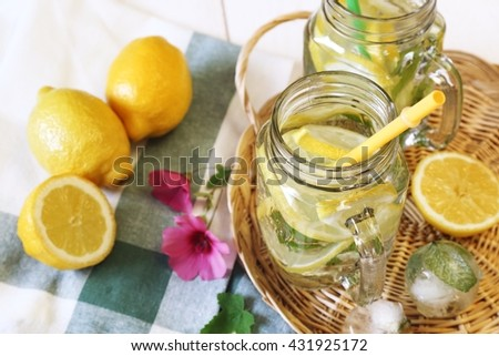 Cool refreshing drink: pure water, ice, lemon and mint - stock photo