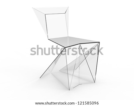 Cool render of Origami concept chair on a gray background - stock photo