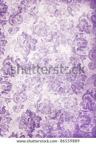 cool retro floral wallpaper in purple - stock photo