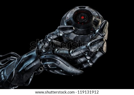 Cool robot hand with camera ball / Futuristic artificial arm that holds stylish web cam on black. 3d max render - stock photo