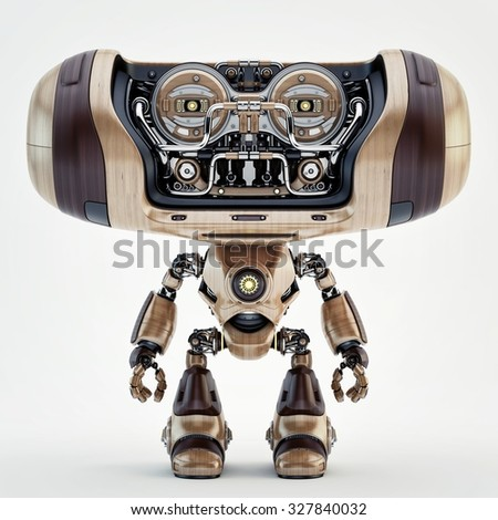 Cool robotic creature - toy with big, wide head in front render - stock photo