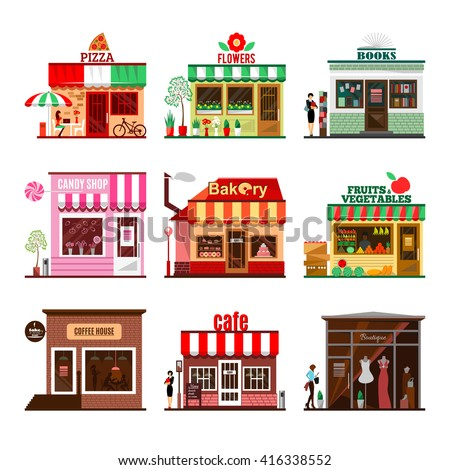Cool set of detailed flat design city public buildings. Restaurants and shops facade icons. Pizza, flowers, books, candy shop, bakery, fruits and vegetables, coffee house, cafe and boutique.  - stock photo