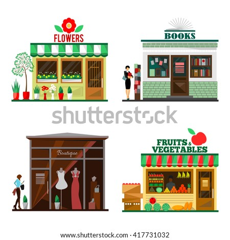 Cool set of detailed flat design city public buildings. Store facade icons. Flowers, books, fruits and vegetables, boutique shops. illustration for cute cartoon food design. - stock photo