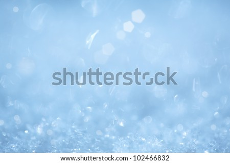 Cool Sparkling Ice Crystal Christmas Background ~ Frozen Aqua or Robins Egg Blue and White Frosty Snow Flakes - stock photo