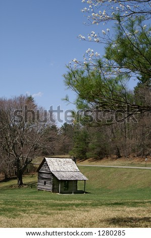 Cool Spring Baptist Church on Blue Ridge Parkway, North Carolina Vertical - stock photo
